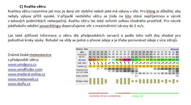 Červeně znázorněný je nevhodný vítr, zeleně vhodný